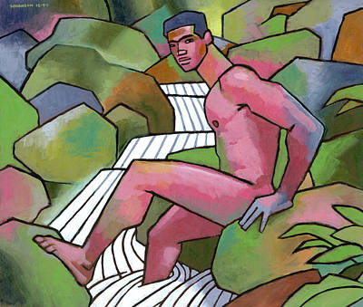 Athletes Royalty-Free and Rights-Managed Images - Red Nude on Mossy Rocks by Douglas Simonson