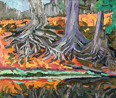 Midday Painting - Red Oak Roots by Phil Chadwick