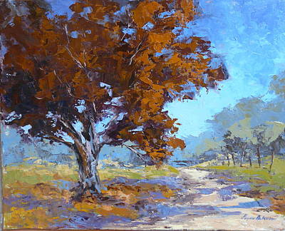 Pallet Knife Painting - Red Oak by Yvonne Ankerman