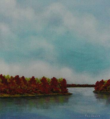 Red Oaks On The River Art Print by Richard Van Order