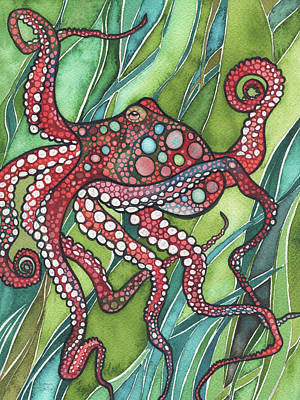 Octopus Painting - Red Octo by Tamara Phillips