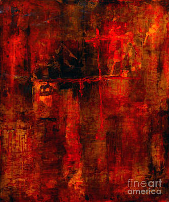 Abstracted Painting - Red Odyssey by Pat Saunders-White