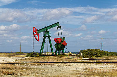 Photograph - Red Oil Pump Jack  by Les Palenik
