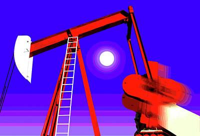 Jack Drill Digital Art - Red Oil Well Pump #6 by Dennis Thompson