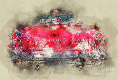 Painting - Red Oldsmobile - Back by Delphimages Photo Creations