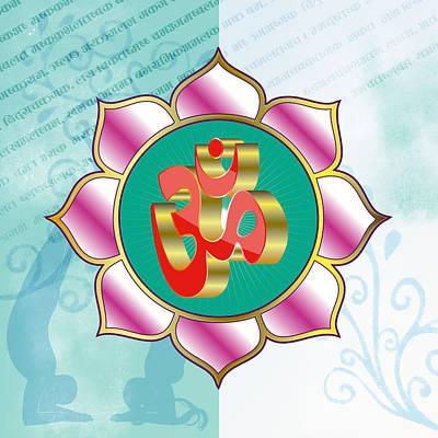 Digital Art - Red Om In Puple Lotus Mandala by ReadyForYoga Online-Shop