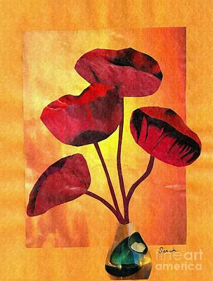 Florals Mixed Media - Red on Orange by Sarah Loft