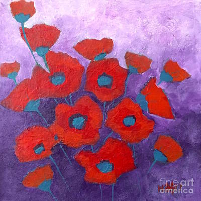 Painting - Red On Purple by Wonju Hulse