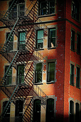 Photograph - Red Hot Fire Escape by Diana Angstadt