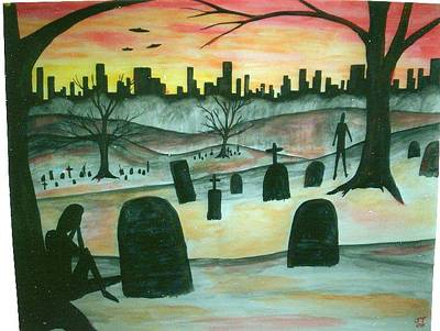 Cemetary Painting - Red Orange Cemetary by Johnny Taylor