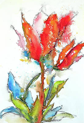 Painting - Red Orange Flower I by Lynne Furrer