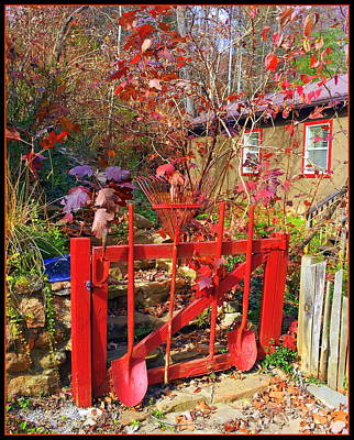 Photograph - Red Orange Garden Gate by Carla Parris
