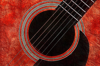 Andee Fine Art And Digital Design Photograph - Red Orange Guitar by Andee Design