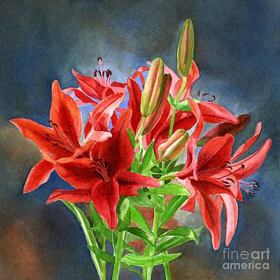 Lily Painting - Red Orange Lilies With Dark Background by Sharon Freeman