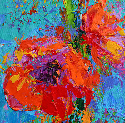 Vivid Colour Painting - Red Orange Peony Flower by Patricia Awapara