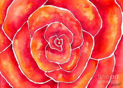 Painting - Red-orange Rose Macro by Kristen Fox