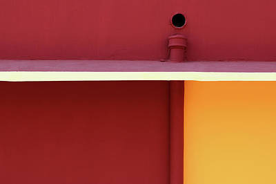 Photograph - Red Orange Wall With Simple Geometric Shapes by Prakash Ghai