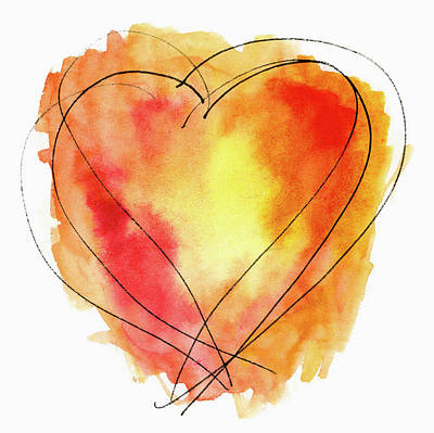 Print featuring the photograph Red Orange Yellow Watercolor And Ink Heart by Carol Leigh