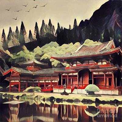 Architecture Digital Art - Red Pagoda Reflecting On A Lake by Amy Cicconi