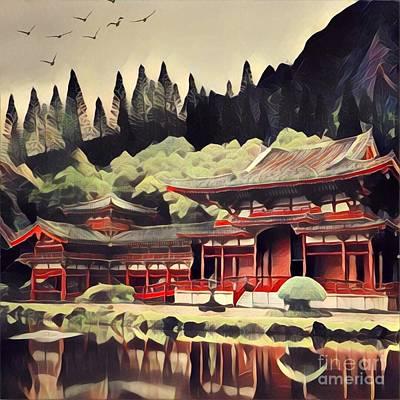 Red Pagoda Reflecting On A Lake Art Print