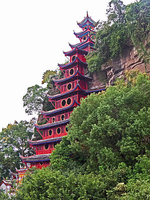 Photograph - Red Pagoda by T Guy Spencer