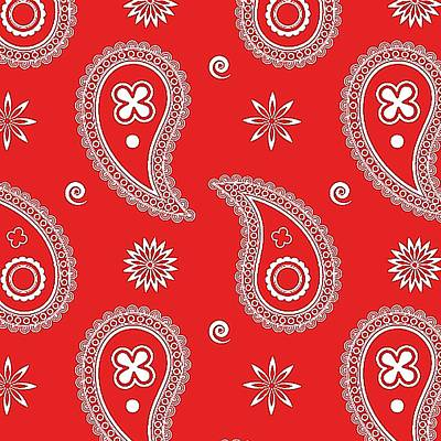 Becky Digital Art - Red Paisley by Becky Herrera