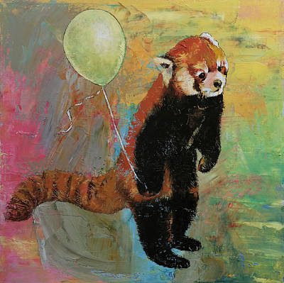 Humor. Painting - Red Panda Balloon by Michael Creese