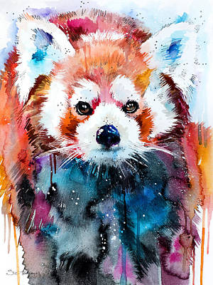 Panda Mixed Media - Red Panda by Slavi Aladjova