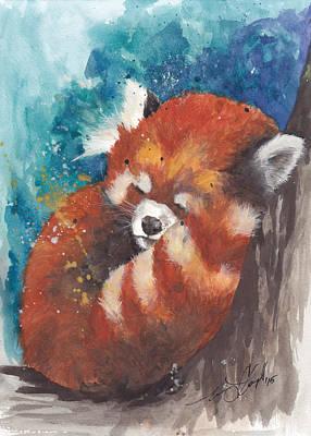 Red Panda Painting - Red Panda Sleeping by Morgan Adams