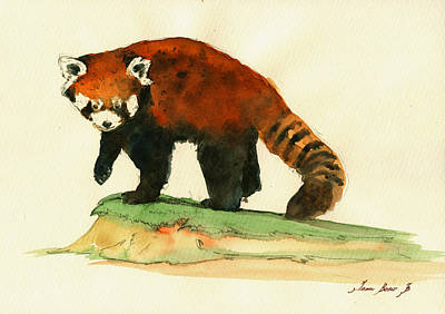 Lesser Painting - Red Panda Walk by Juan  Bosco