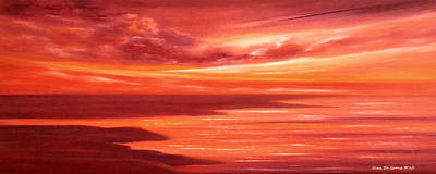 Painting - Red Panoramic Sunset by Gina De Gorna