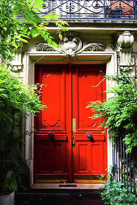 Photograph - Red Parisian Doorway by Steve Kearns