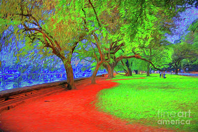 Digital Art - Red Park by Rick Bragan