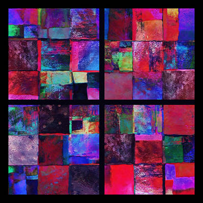 Giclee Mixed Media - Red Patchwork - Abstract Art  by Ann Powell