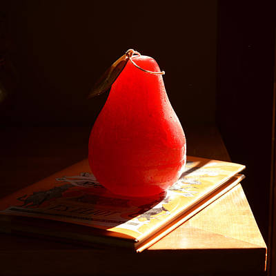 Photograph - Red Pear Candle In Sunlight by Ronda Broatch