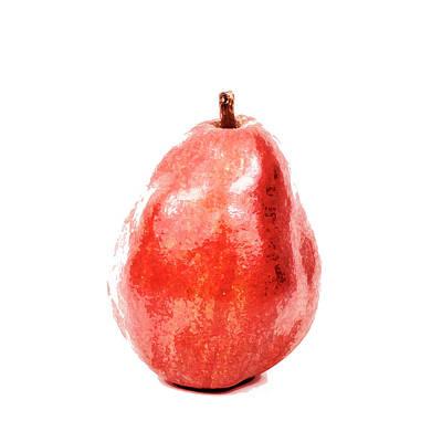 Digital Watercolor Photograph - Red Pear Digital Watercolor Painting by Vishwanath Bhat
