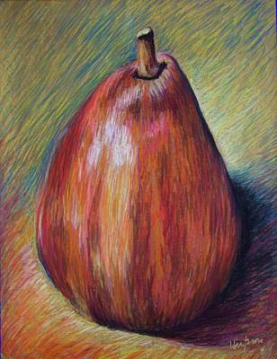 Red Pear Art Print by Hillary Gross