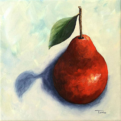 Painting - Red Pear In The Spotlight by Torrie Smiley