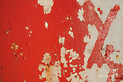 Red Peeling Metal Grunge Background Art Print by Simon Bratt Photography LRPS