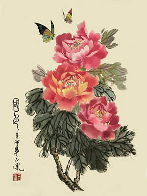 Painting - Red Peonies by Yufeng Wang