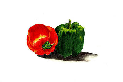 Red Pepper And Green Pepper Art Print by Michael Vigliotti