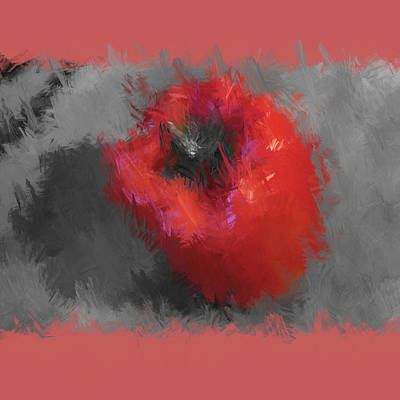 Digital Art - Red Pepper On Gray by Aliceann Carlton