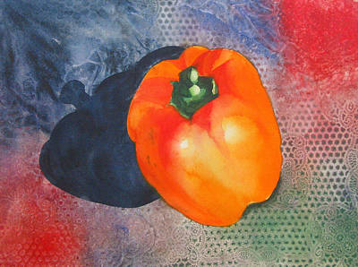 Food And Flowers Still Life Rights Managed Images - Red Pepper Solo Royalty-Free Image by Jean Blackmer