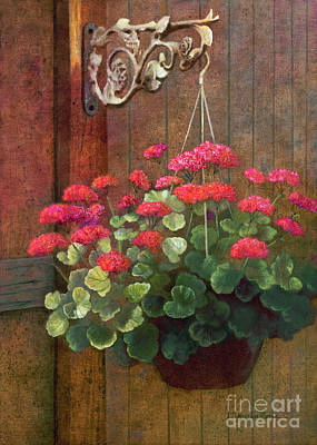 Hanging Baskets Painting - Red Petals Geraniums by Nancy Lee Moran