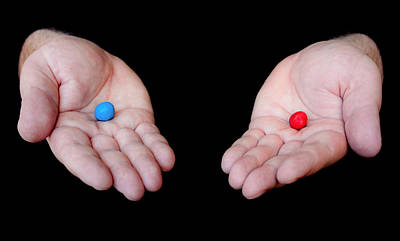 Red Pill Blue Pill Art Print by Semmick Photo