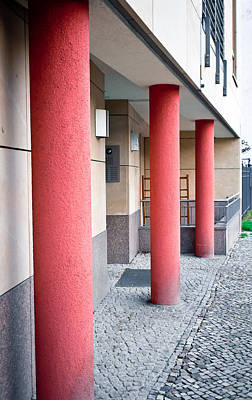 Ground Level Photograph - Red Pillars by Tom Gowanlock