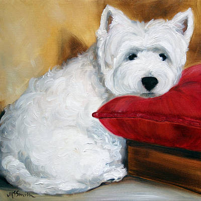 West Highland Terrier Painting - Red Pillow by Mary Sparrow