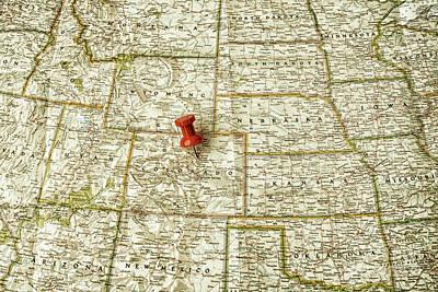American Milestones - Red pin on Denver by Patricia Hofmeester
