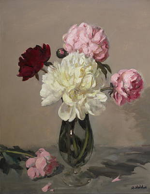 Painting - Red, Pink And White Peonies No. 2 by Robert Holden