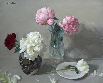 Painting - Red, Pink And White Peonies No. 3 by Robert Holden
